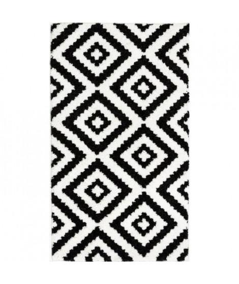TAVLA Tapis de couloir moderne - 50  x  80 cm - 100% polypropylene frisée - Noir