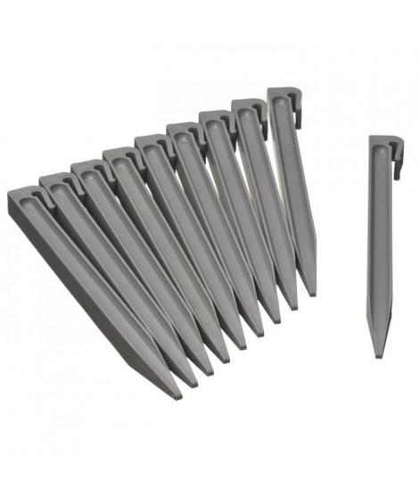NATURE Sachet de 10 ancres pour bordure de jardin en polypropylene - H 26,7 x 1,9 x 1,8 cm - Gris