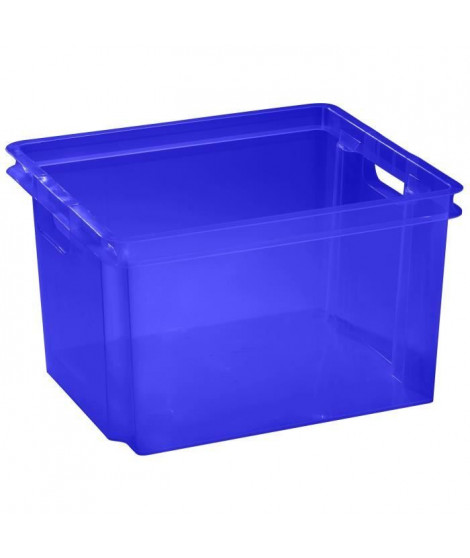 ALLIBERT Boîte de rangement bleu transparent Crownest - Empilable - 30 L