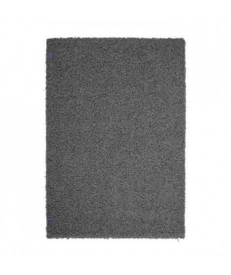 TRENDY Tapis de couloir Shaggy en polypropylene - 80 x 140 cm - Gris anthracite