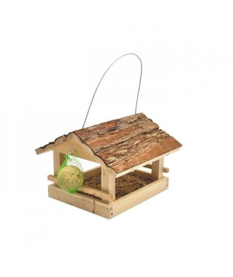 VADIGRAN Mangeoire Klara toit écorce pour oiseau 23.5 x 24 x 17cm