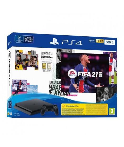 Console PS4 Slim 500 Go Noire/Jet Black + FIFA 21 Jeu PS4 + Points FUT + 14 Jours PS Plus - PlayStation Officiel