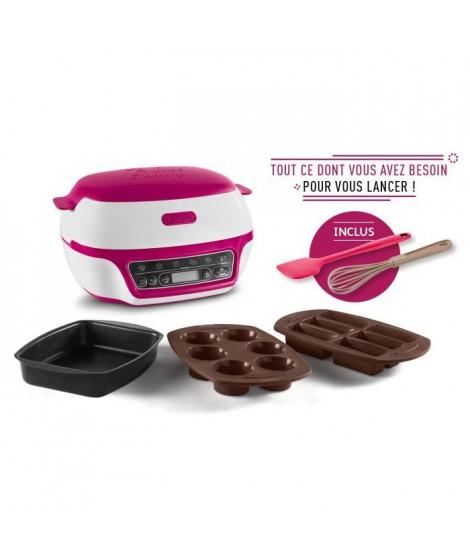 TEFAL YY4377FB Cake Factory Machine Intelligente a Gâteaux - 3 Moules, Fouet et Spatule Inclus - 5 Programmes - Blanc / Rose