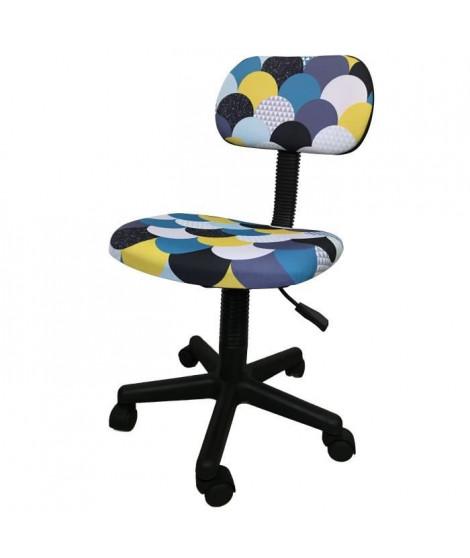 LEMPA Chaise de bureau - Réglable en hauteur - Tissu multicolore bleu - L 46 x P 40 x H 71-83 cm