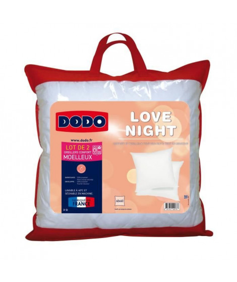 DODO Lot de 2 Oreillers LOVE NIGHT 60X60 cm