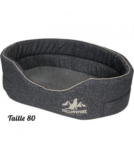 TYROL Corbeille Mousse Ovale, pour Chien Grand/Moyen, Couchage Confort, Design Moderne Yellowstone, Gris, Taille L, Dim. 80x5…