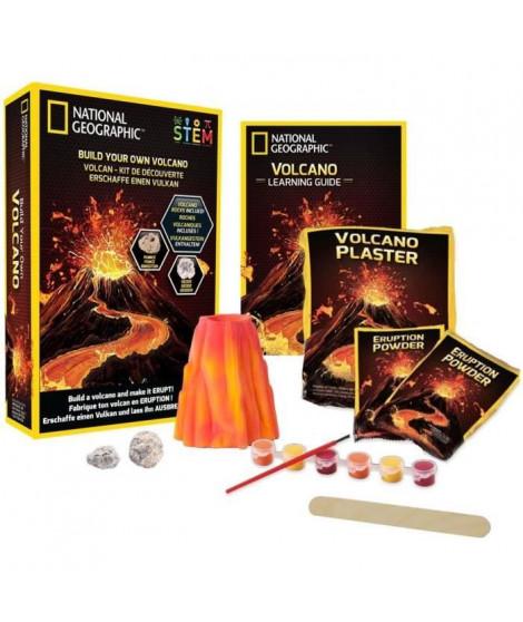 NATIONAL GEOGRAPHIC - Kit découverte - Volcan a fabriquer et faire entrer en éruption - 2 roches volcaniques incluses