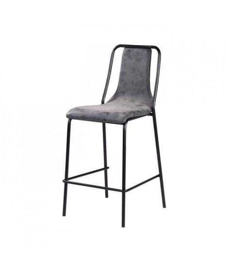 Tabouret de bar pieds en métal noir - Revetement simili PU gris anthracite - Industriel - L 40 x P 50 cm