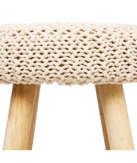 Tabouret Suzette en bois, coton et polyéthylene - L. 32 x l. 32 x H. 43 cm - Beige