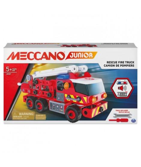 MECCANO - CAMION DE POMPIERS a construire Meccano Junior - 6056415 - Jeu de construction avec effets sonores et lumineux