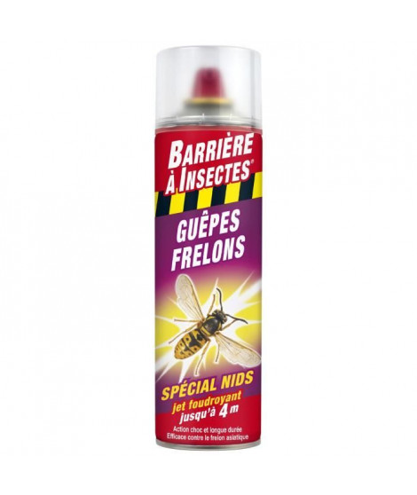 BARRIERE A INSECTES Guepes, frelons Spécial nids - Aérosol 500 ml