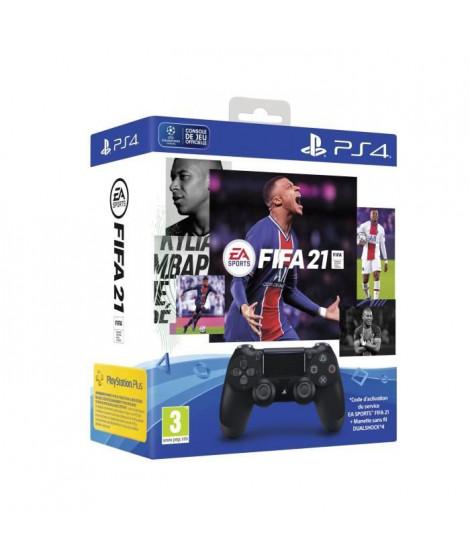 Manette PS4 DualShock 4.0 V2 Jet Black + FIFA 21 + Points FUT + 14 Jours PS Plus - PlayStation Officiel