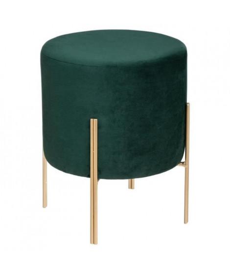 Tabouret Design en Velours Living - Ø 34 x H. 40 cm - Vert foncé