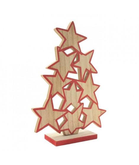 BLACHERE Sapin Etoiles en bois a poser - H 23 cm - Bois naturel et rouge