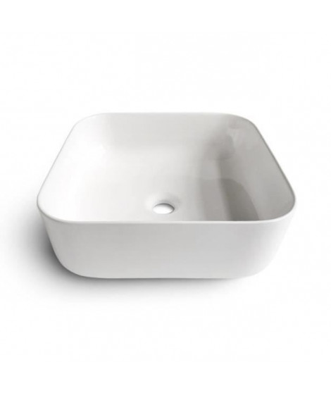 OCEANIC Vasque a poser en céramique forme carrée 39,5x39,5x14 cm Lenã