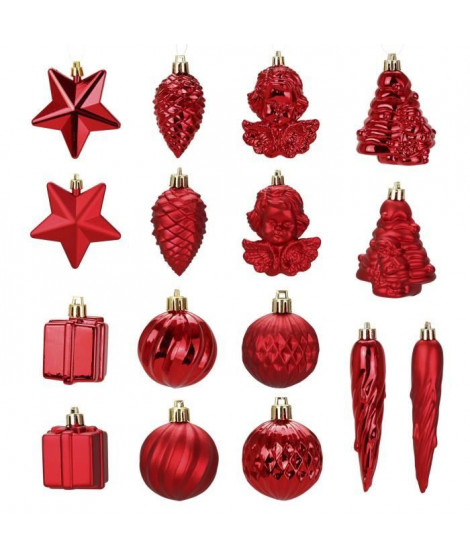 Kit de 16 décorations de Noël PVC - Ø 5 8 cm - Rouge