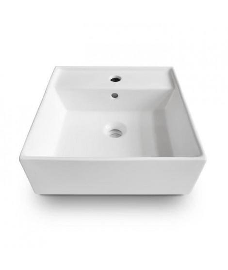OCEANIC Vasque a poser en céramique forme carrée 41,5x41,5x15 cm Lenã