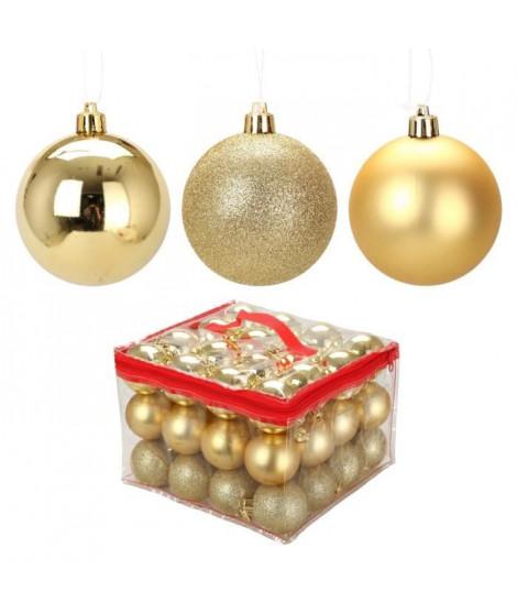 Lot de 48 Boules de Noël en Plastique Doré 6 cm