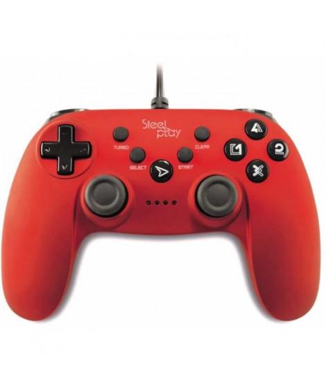Manette Steelplay filaire rouge métallique pour PS3-PC