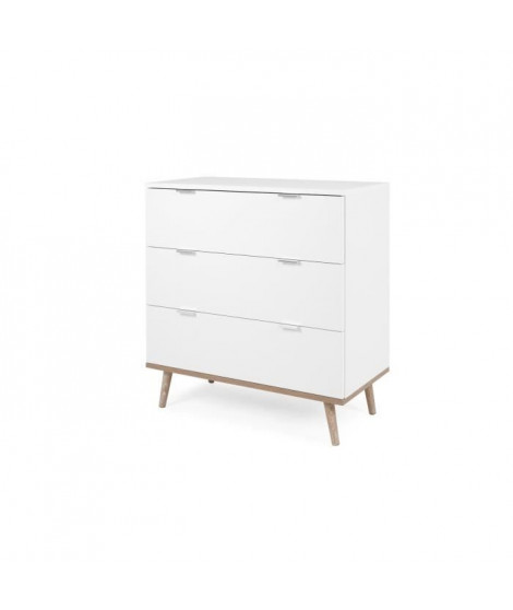 Commode 3 tiroirs - Décor chene sonoma Blanc - L 79,8 x P 40 x H 86,5 cm - GOTEBORG