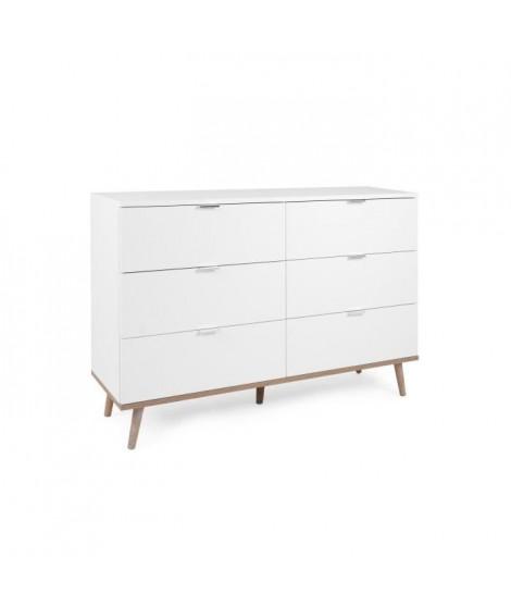 Commode 6 tiroirs - Décor chene sonoma Blanc - L 120 x P 86,5 x H 40 cm - GOTEBORG