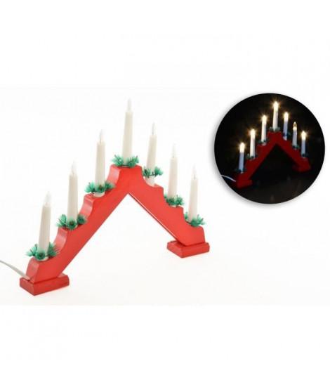 Candélable - 7 LED - H 29 cm - Rouge