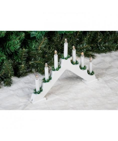Candélable - 7 LED - H 29 cm - Blanc