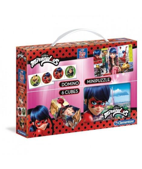 CLEMENTONI  Mini Edukit - Miraculous - Dominos, Puzzle et 6 Cubes