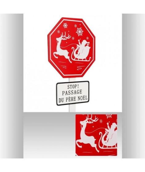 FEERIC LIGHTS & CHRISTMAS Pancarte en bois Stop passage du Pere Noël - 90 cm