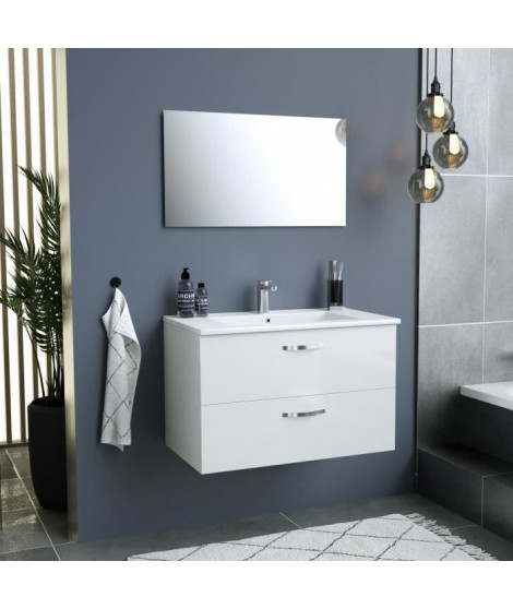 Meuble salle de bain + Vasque + Miroir - 2 tiroirs - Blanc - L 80 cm - FUNNY