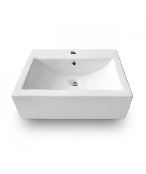 OCEANIC Vasque a poser en céramique forme rectangle 52,5x41,5x16 cm Naiã