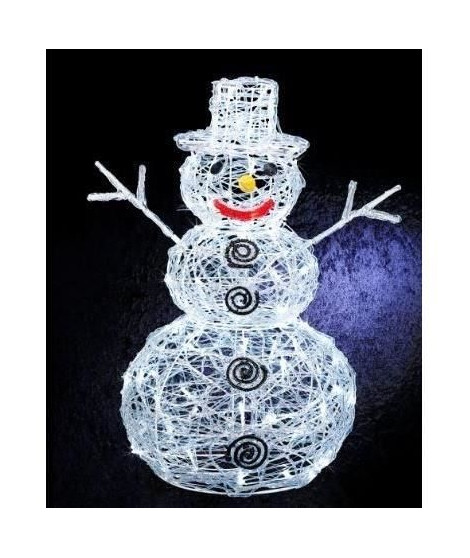 FEERIC LIGHTS & CHRISTMAS Décoration lumineuse extérieure Bonhomme de neige - Acrylique fin - 100 Leds - H 57 cm