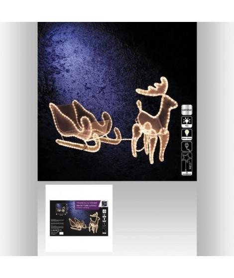 FEERIC LIGHTS & CHRISTMAS Décoration lumineuse extérieure Tube 3D Traineau + 1 Renne 12 m lumiere fixe - 462 Lucioles