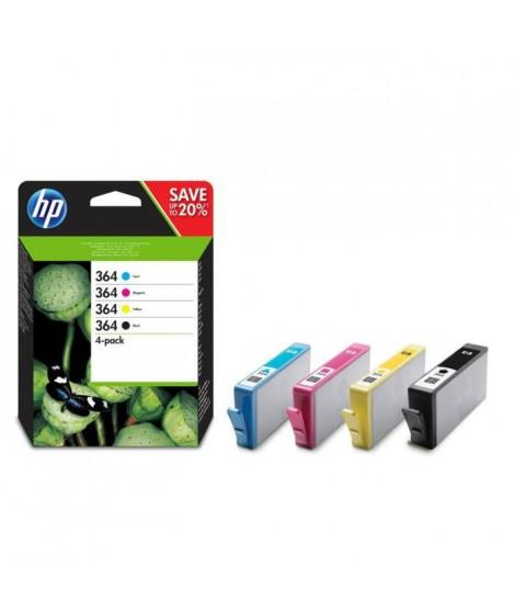 HP 364 pack de 4 cartouches d'encre noir/cyan/magenta/jaune authentiques pour HP DeskJet 3070A et HP Photosmart 5525/6525 (N9…