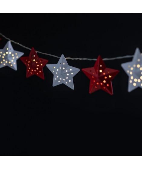 FEERIC LIGHTS & CHRISTMAS Guirlande étoile intérieur - 10 LED - Blanc et rouge