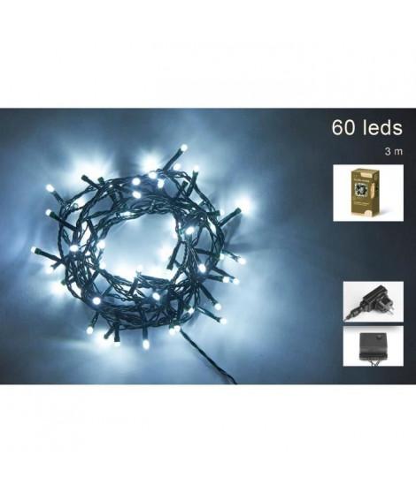 Guirlande de Noël 60 LED extérieure - 5 mm x 3 m - Blanc