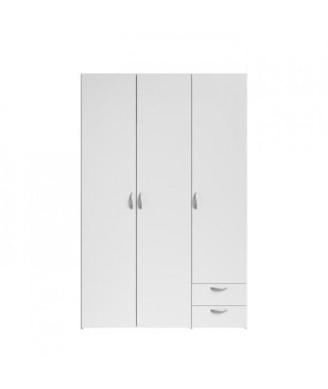 VARIA Armoire de chambre 3 portes décor blanc L 120 cm