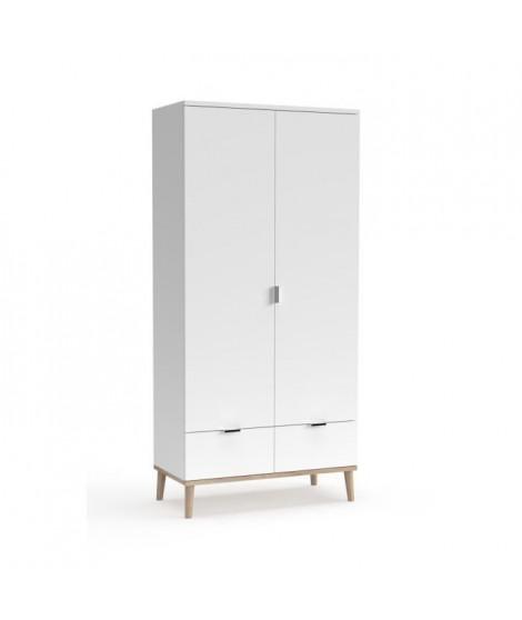 Armoire 2 portes 2 tiroirs - Décor chene sonoma Blanc - L 90 x P 55 x H 180 cm - GOTEBORG