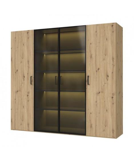 Armoire 4 portes + éclairage - Décor chene - L 222,9 x P 54,2 x H 210,5 cm - RAMMA