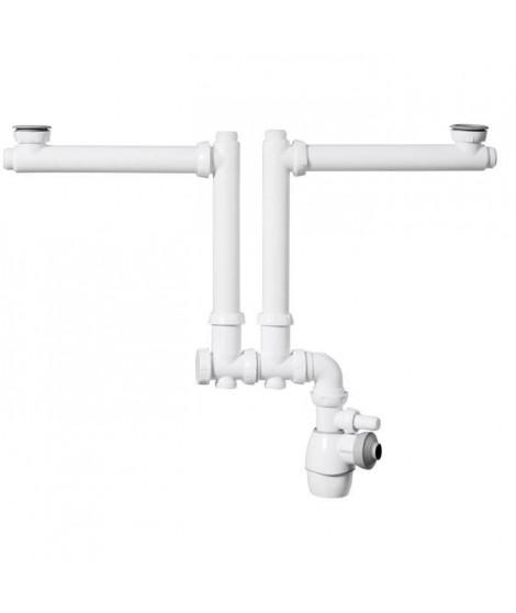 WIRQUIN Siphon double tout-en-un déporté - Pour lavabo ou évier - 2 bacs