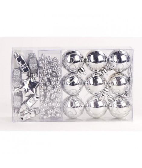 Kit de 14 suspensions de Noël en PVC - Boules, étoiles et guirlande - Ø 4 / 2,70 cm - Argent