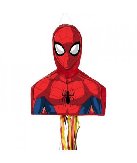 Pinata a ficelles Spiderman en papier et plastique - 35,5 x 46 x 13,5 cm - 9903150