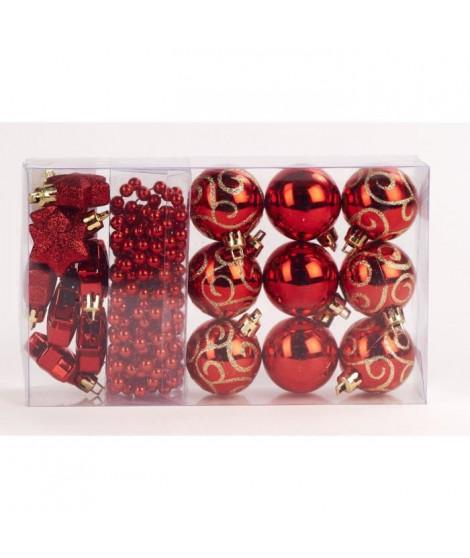 Kit de 14 suspensions de Noël en PVC - Boules, étoiles et guirlande - Ø 4 / 2,70 cm - Rouge