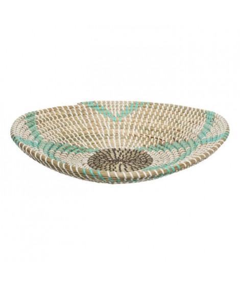 Panier rond en seagrass et PVC - Ø 38,5 x H. 8 cm - Multicolore