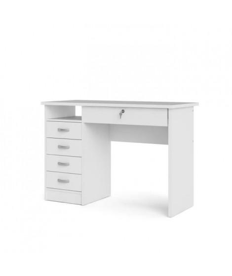 STUDENT Bureau 5 tiroirs - Décor blanc - L 109,3 x P 48,5 x H 75,6 cm