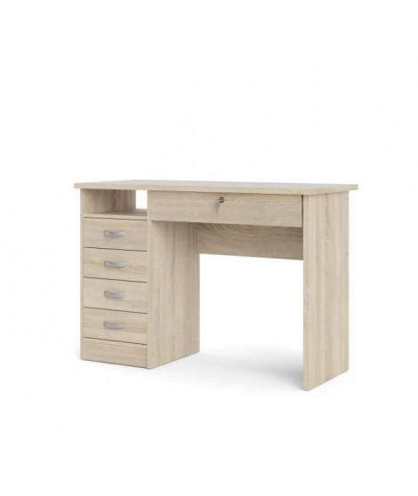 STUDENT Bureau 5 tiroirs - Décor chene - L 109,3 x P 48,5 x H 75,6 cm