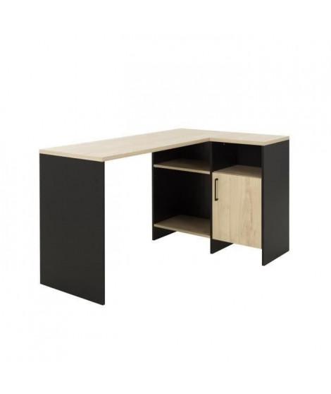 CARDIF Bureau d'angle - Décor chene et noir -  L 88 x P 136 x H 76 cm