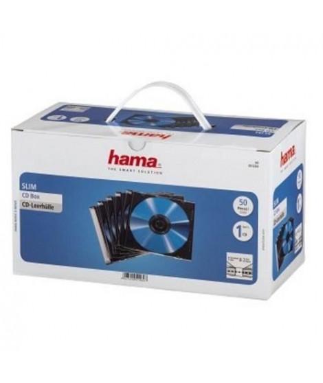 HAMA 51269 Boîtier CD Slim - Boîte de 50 - Transparent et noir
