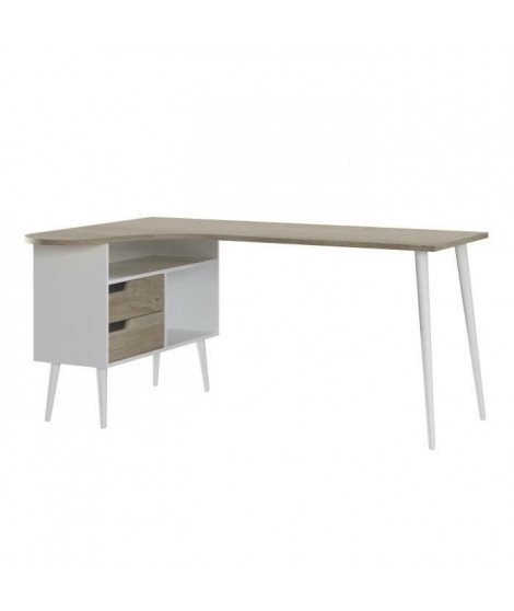Bureau 2 tiroirs - Style Scandinave - Décor chene et blanc - L 160 x P 107,5 x H 75,7 cm - KONUSA