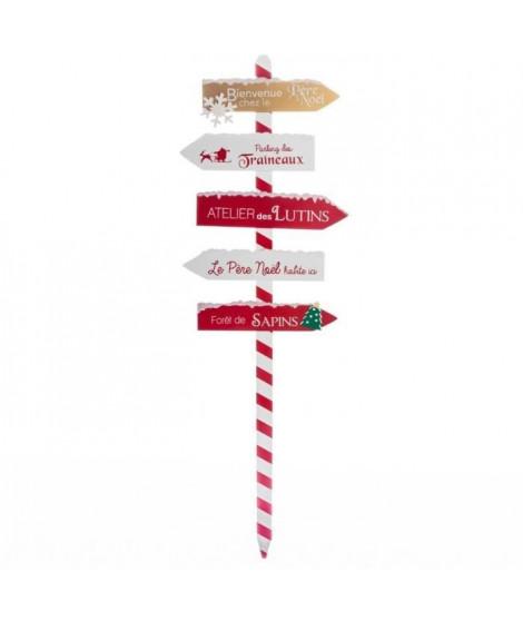 FEERIC LIGHTS & CHRISTMAS Pancarte Bois - 120 cm - Rouge et blanc